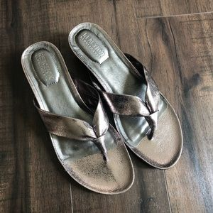 Kenneth Cole Metallic Wedge Thong Sandals